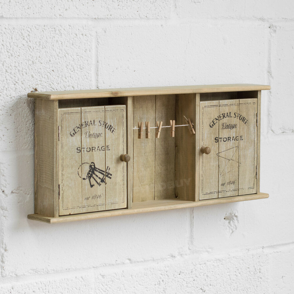 Wall Mounted Vintage General Store Key Storage Cabinet Shabby Chic Box Memo Clip 5024418645788