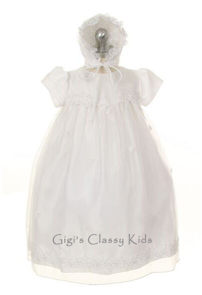 New Baby Girls White Christening Baptism Gown Dress with