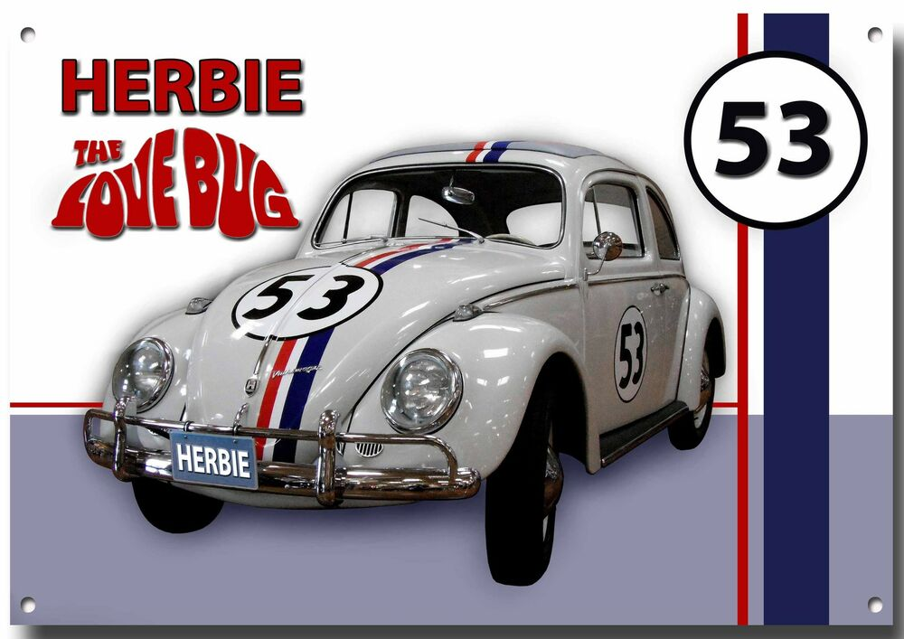 herbie the love bug metal sign high gloss finish classic film cars vw beetle ebay. Black Bedroom Furniture Sets. Home Design Ideas