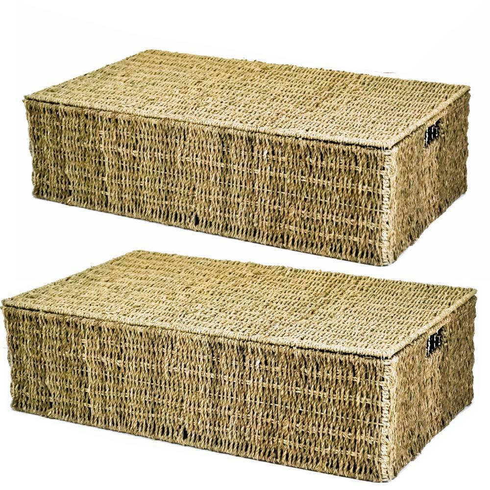 E2e Seagrass Underbed Under Bed Wicker Storage Basket In