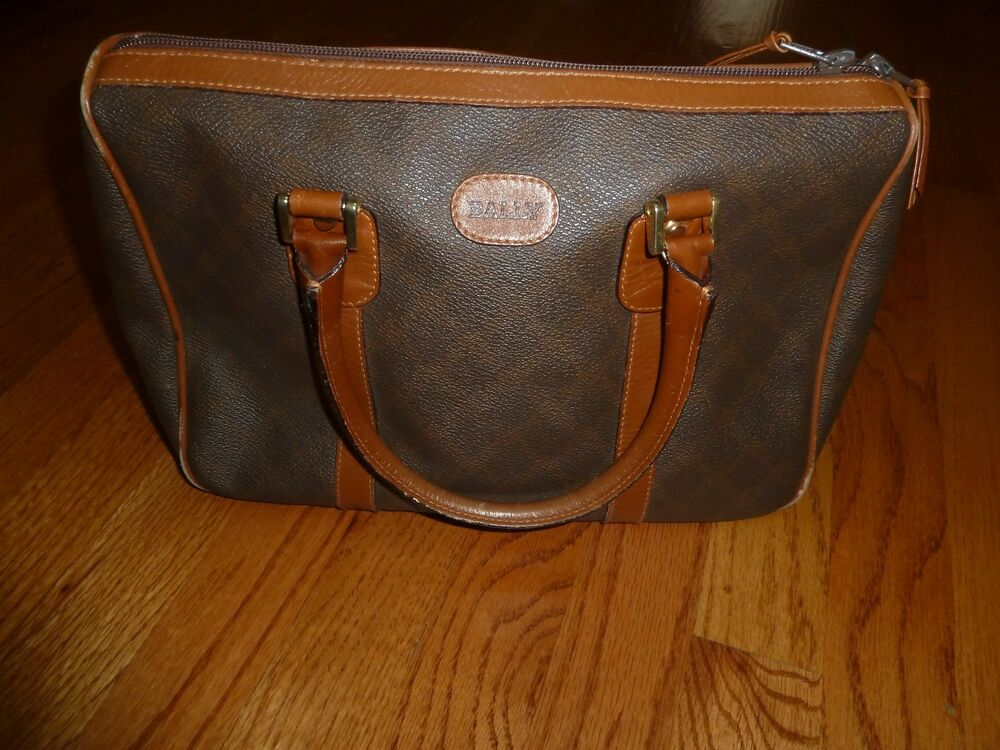 Vintage Bally Monogram Satchel Handbag Purse With Dust