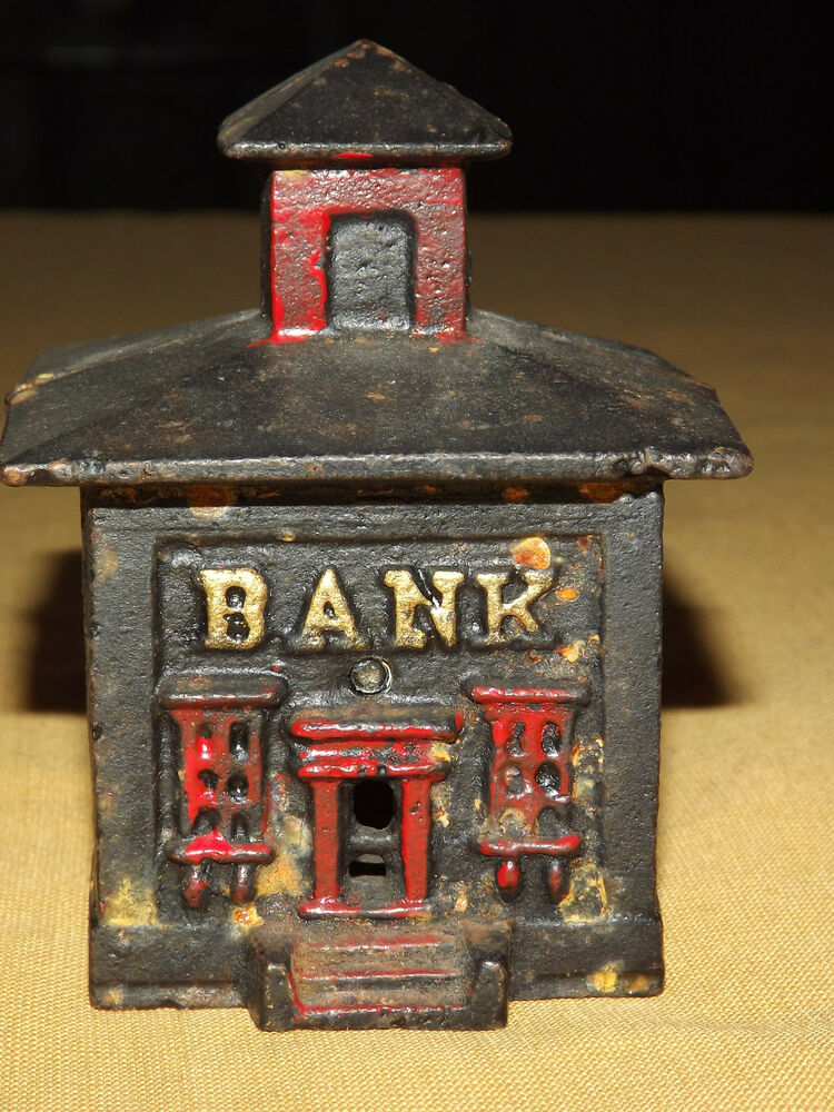 vintage money cast iron metal coin bank building bank ebay. Black Bedroom Furniture Sets. Home Design Ideas