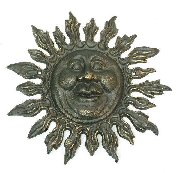 Cast Iron Smiling SUN Face Plaque Wall Hanging Patio