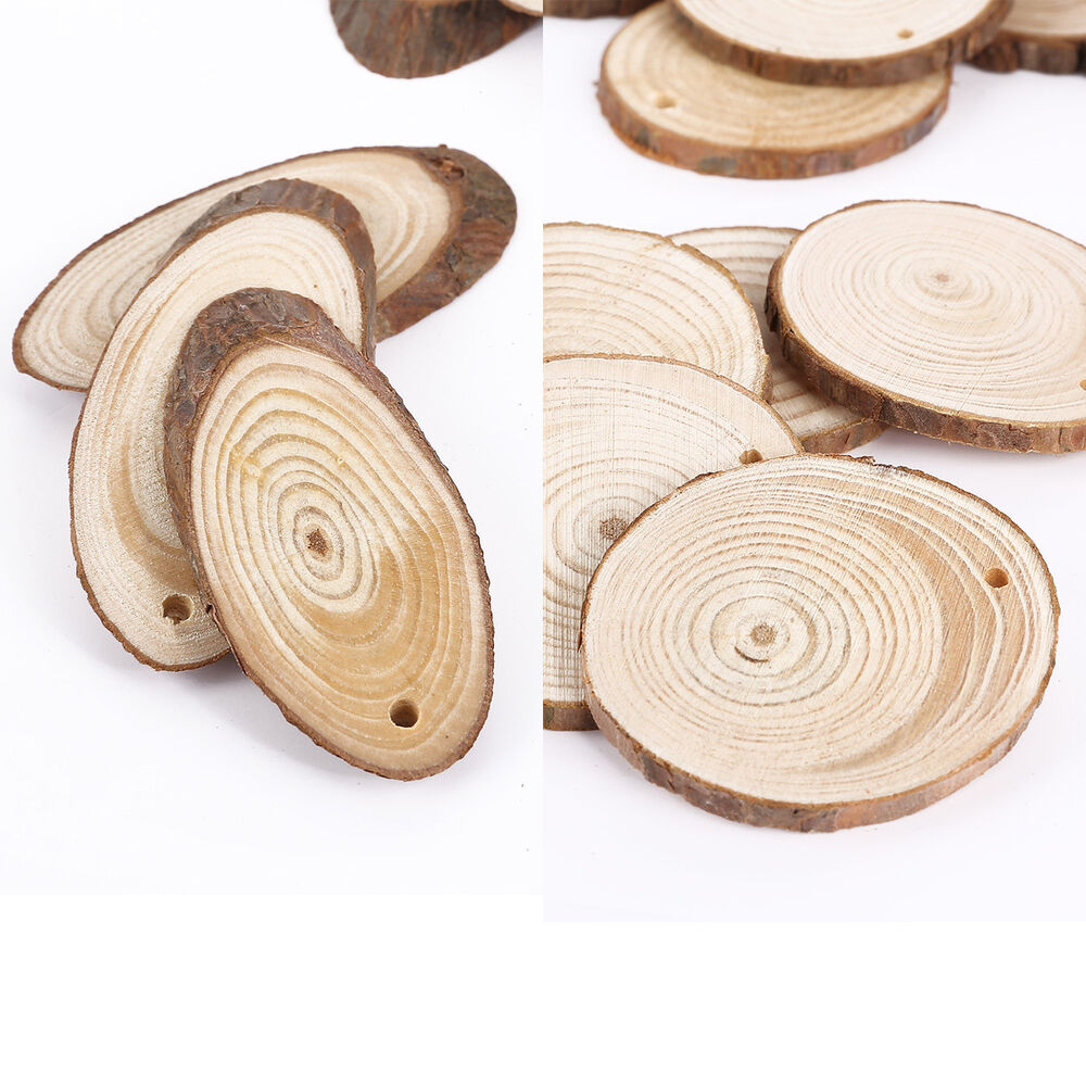 Wooden wood log slices natural tree bark decorative for Wood trunk slices