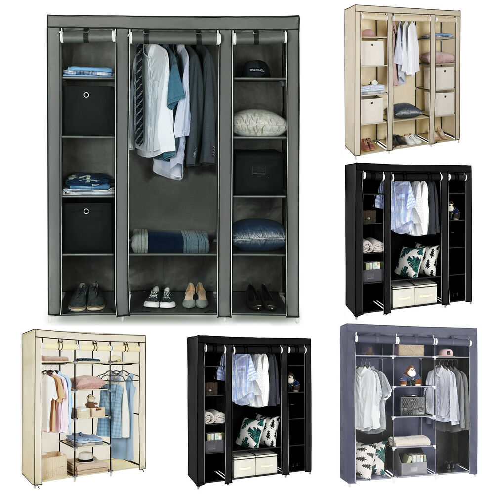 kleiderschrank faltschrank garderoben schrank stoffschrank mit kleiderstange ebay. Black Bedroom Furniture Sets. Home Design Ideas