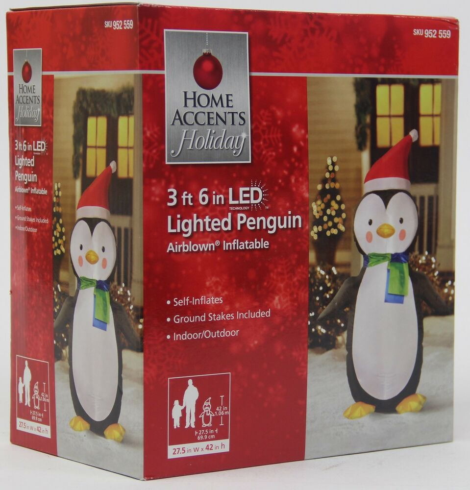 Gemmy Christmas 10 W Airblown Inflatable Winter Carolers: Christmas 3 Ft 6 In LED Lighted Penguin Airblown