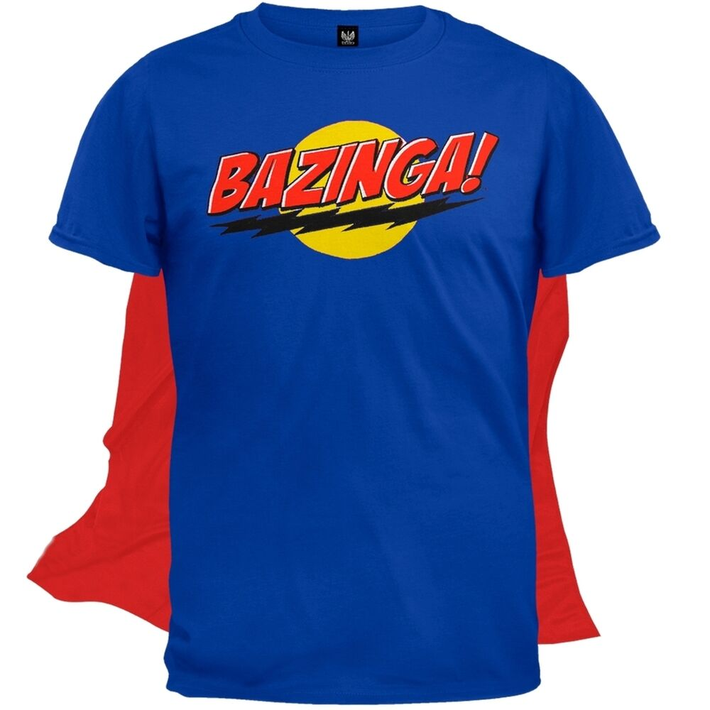 big bang theory bazinga mens t shirt with cape ebay. Black Bedroom Furniture Sets. Home Design Ideas