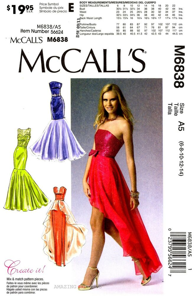 McCall\'s Sewing Pattern M6838 Womens Evening Dresses 6-14 party gown ...