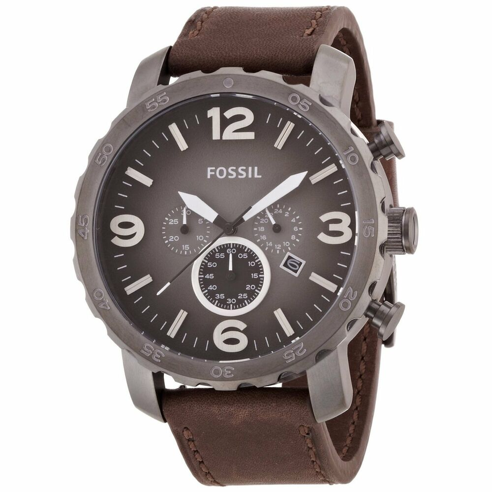Fossil men 39 s 39 nate 39 chronograph brown leather watch 691464949846 ebay for Fossil watches