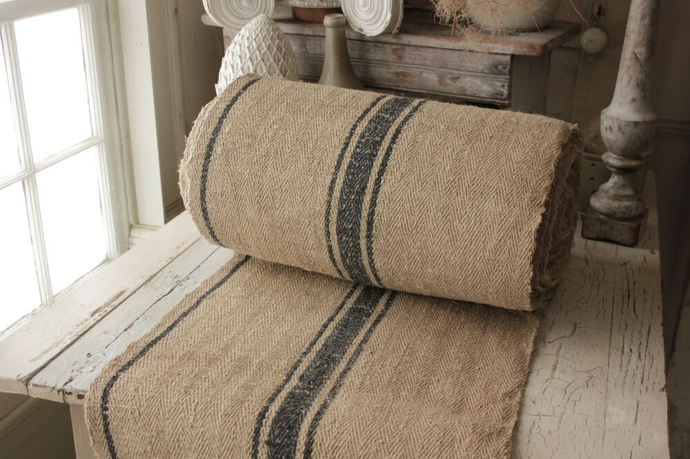 Vintage Table Stair Runner Grain Sack Fabric Yardage