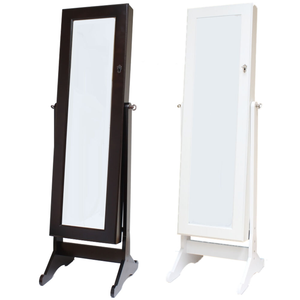 Large floor standing bedroom mirror jewellery box cabinet for Bedroom wall cabinet with mirror