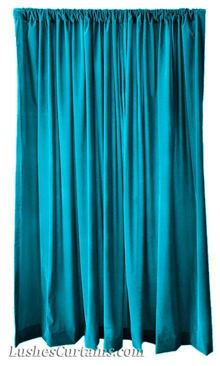 Extra Wide Turquoise 120 Inch H Velvet Curtain Long Panel