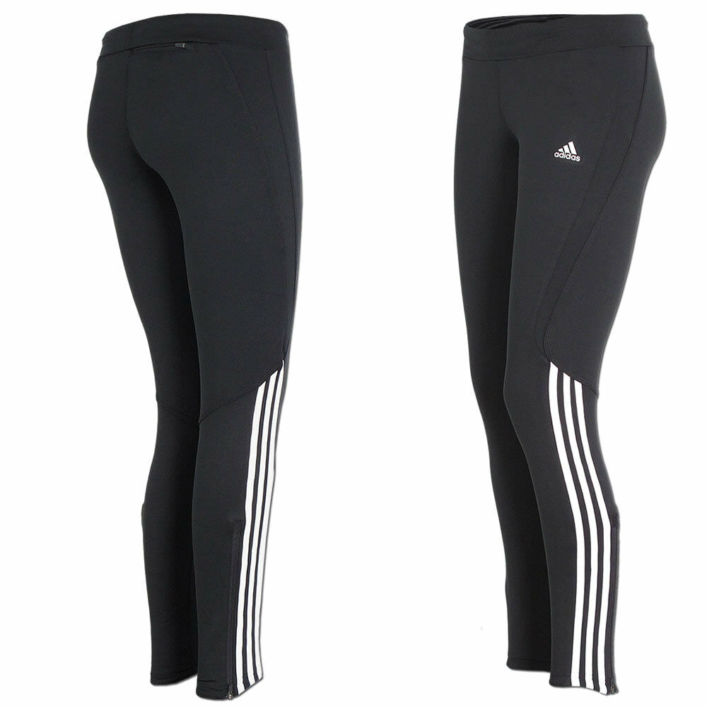 adidas damen hose laufhose running tight climalite sporthose schwarz wei ebay. Black Bedroom Furniture Sets. Home Design Ideas