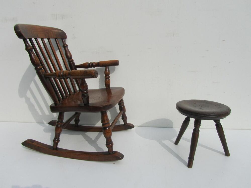 Antique child wooden child 39 s oak rocking chair and stool for Childrens rocking chair with footstool