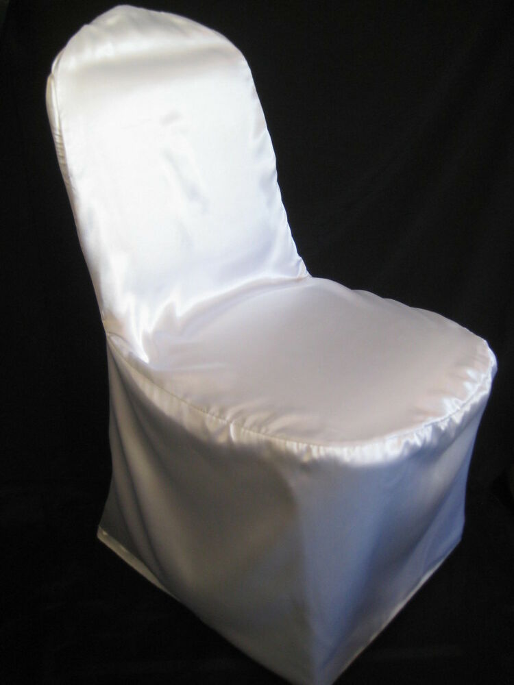 SATIN WEDDING BANQUET CHAIR COVERS White Ivory Black