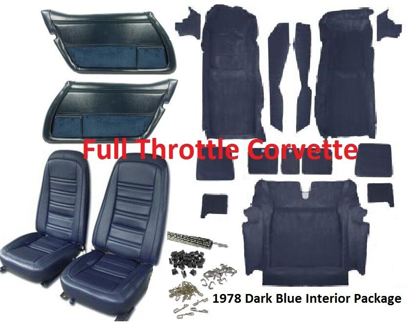 1978 corvette interior package includes carpet door panels seat covers kit ebay