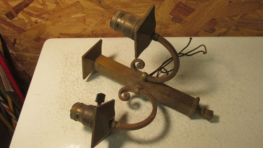 Antique Wall Light Parts : Antique Brass Mission Gas Electric Wall Lamp Parts eBay