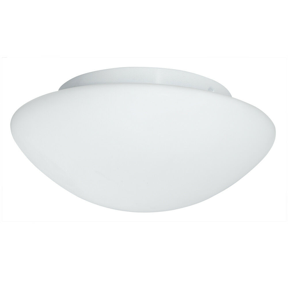 SEARCHLIGHT 28CM WHITE AND OPAL GLASS SHADE FLUSH FITTING BATHROOM CEILING LIGHT