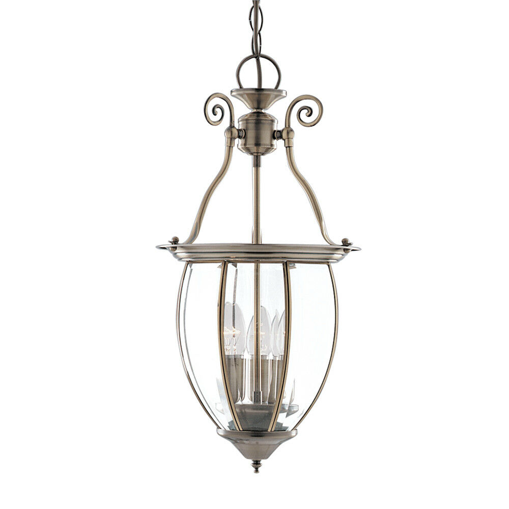 SEARCHLIGHT 3 LIGHT BOWED GLASS BRASS CEILING FITTING