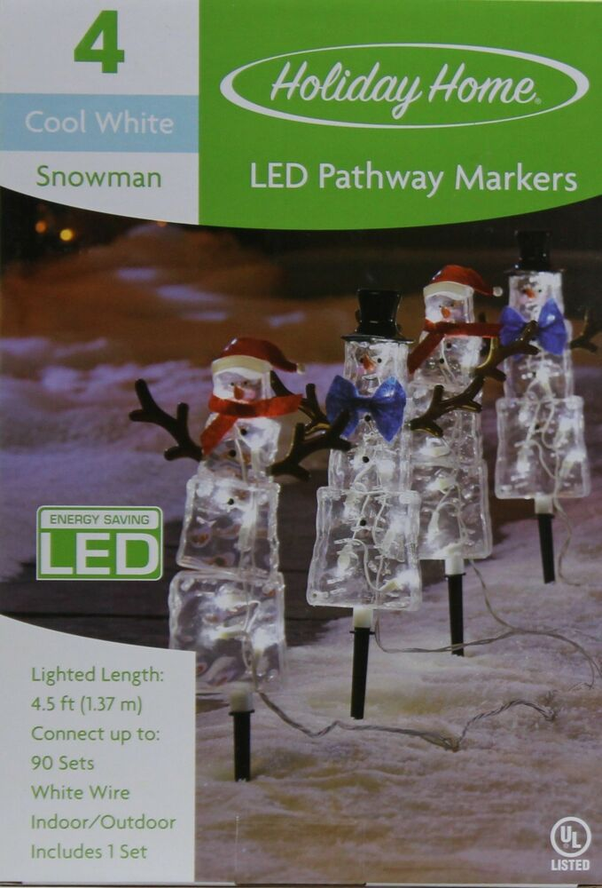 Holiday Home 4 LED Cool White Snowman Path Pathway Markers ...