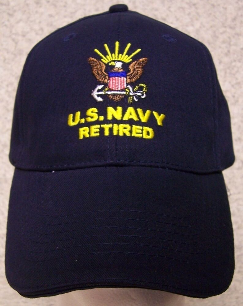 Embroidered Baseball Cap Military Navy Retired New 1 Hat