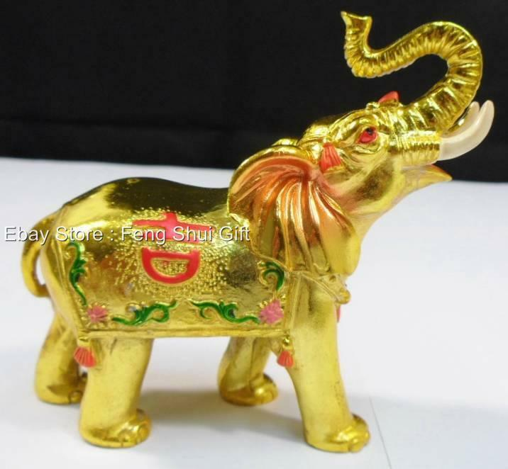 chinese trunk up feng shui lucky elephant figurine gold golden trunk up decor g ebay. Black Bedroom Furniture Sets. Home Design Ideas