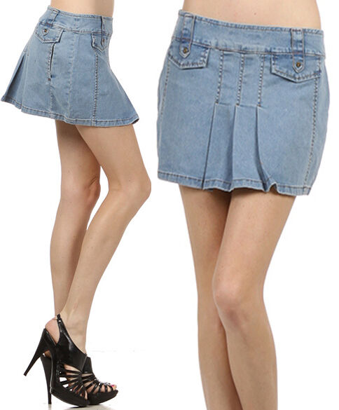 denim pleated summer skirt a line mini with pockets