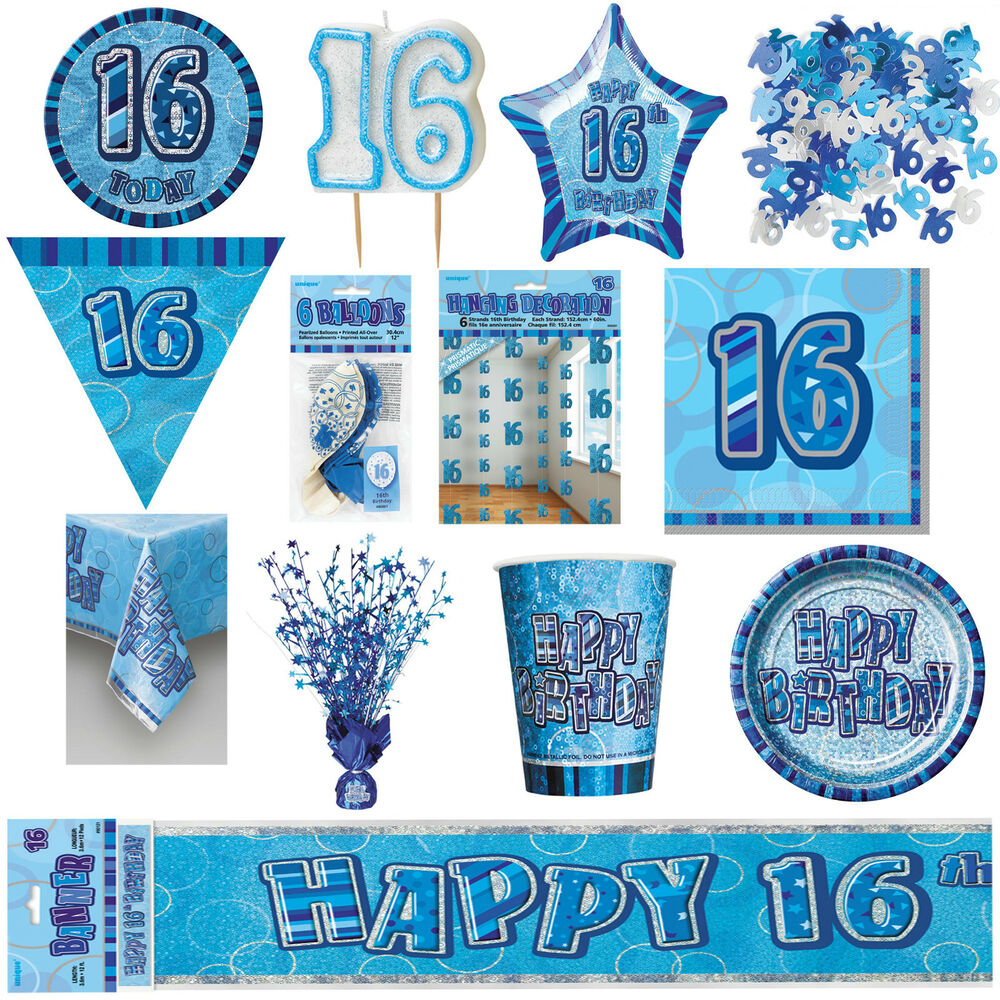 16th Blue Glitz Birthday Party Supplies Decorations