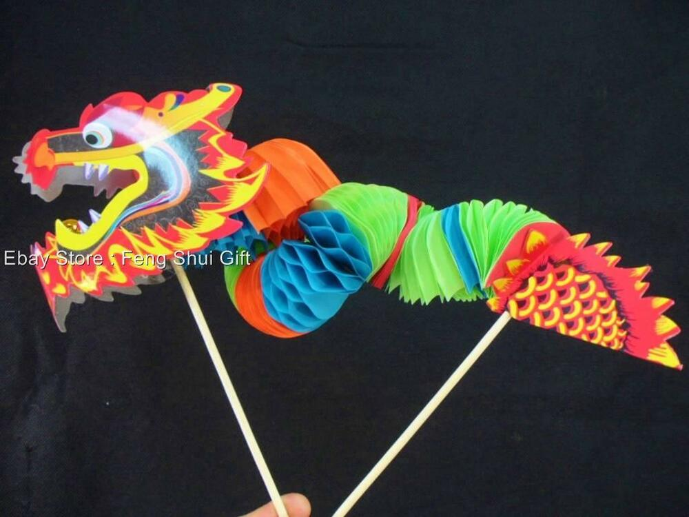 2x Chinese Asian New Year Waffle Paper Dragon Table Home