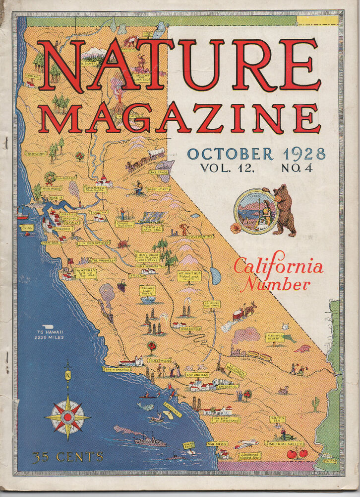 nature magazine cover california map pictograph issue 1928