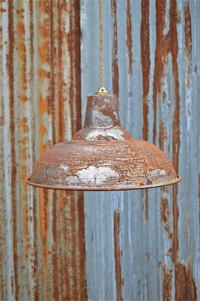 Large Rusty Steampunk Metal Ceiling Light Shade Hanging