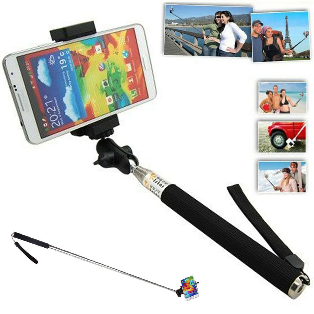 extendable self portrait selfie handheld stick monopod for iphone 6 5s samsung ebay. Black Bedroom Furniture Sets. Home Design Ideas