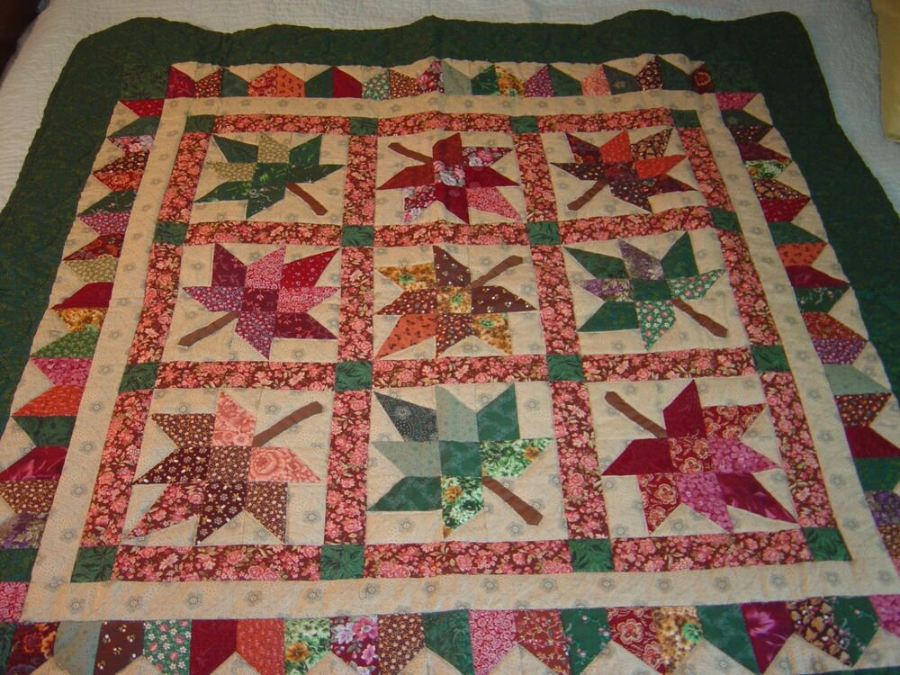 Amish Green Brown Quot Autumn Leaf Quot Wallhanging Quilt 45 Quot 45