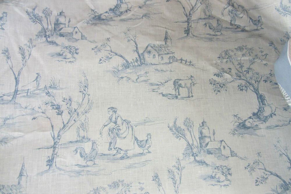 Blue Linen Toile De Jouy Curtain Craft Upholsteryfabric