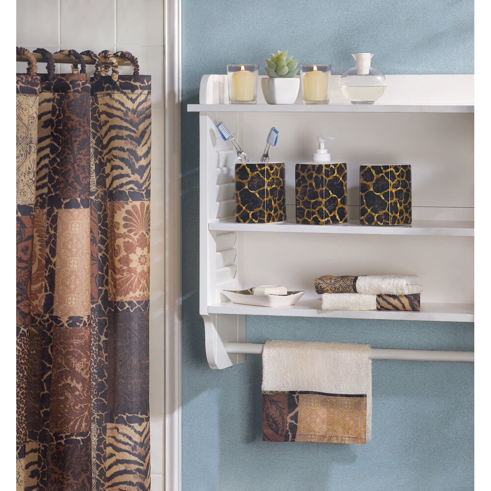 ... Set Cat Wild Animal Jungle Print Safari Shower Curtain Towel | eBay