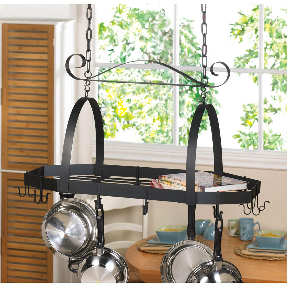 Octagonal hanging 12 hook kitchen pot or cookware rack for Kitchen s hooks for pots and pans