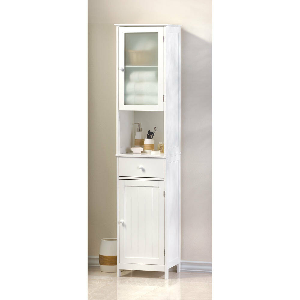 70 7 8 tall lakeside white wood tall storage cabinet for Bathroom storage cabinet