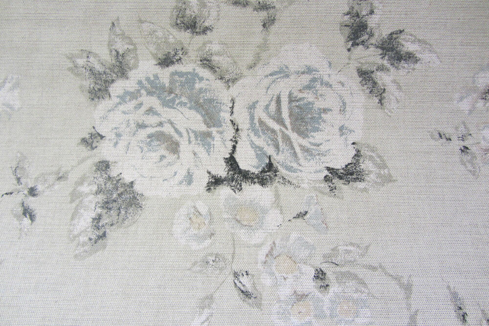 Emma Linen French Grey Floral Curtain Upholstery Craft