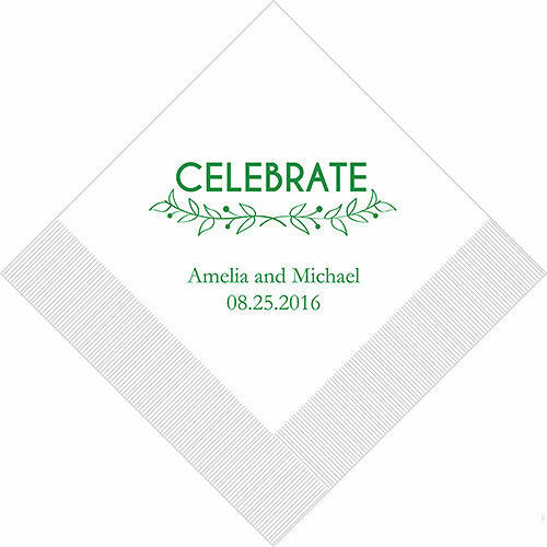Woodland pretty celebrate personalized wedding cocktail napkins ebay