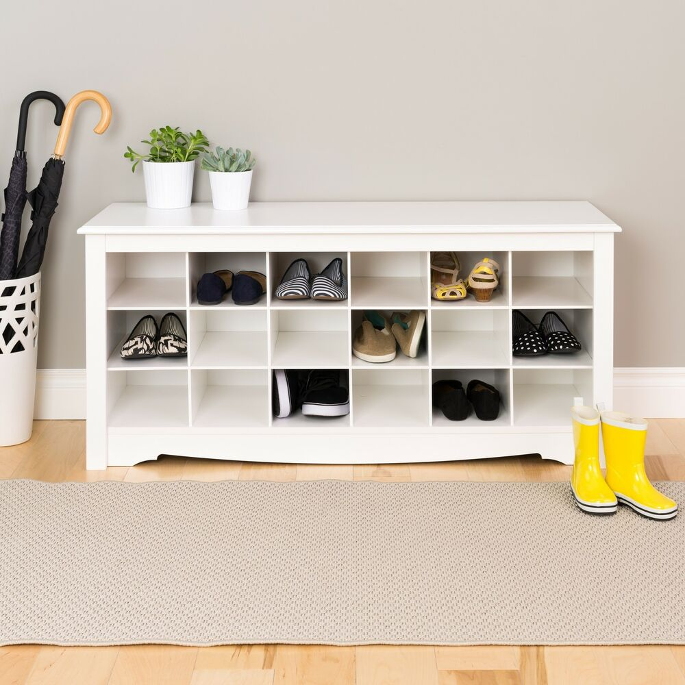 Winslow White Shoe Storage Cubbie Bench Ebay
