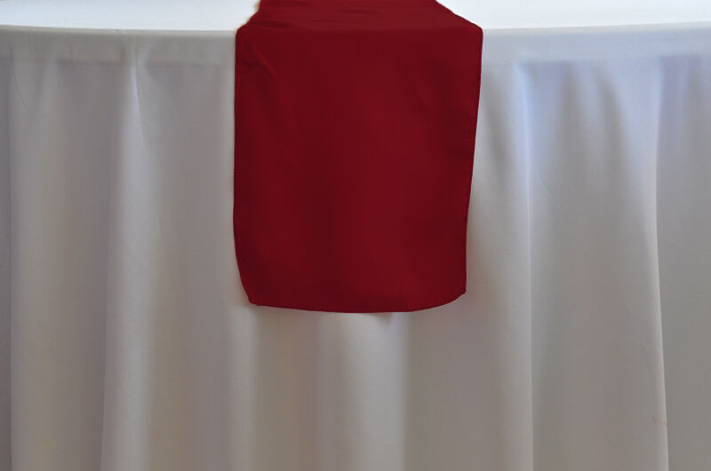 Lot Of 10 Apple Red Satin Wedding Table Runners