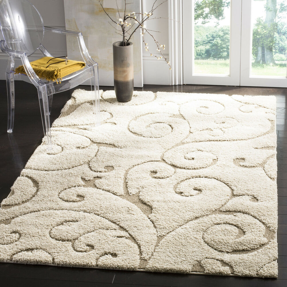 Safavieh Florida Shag Collection Ivory Sculpted