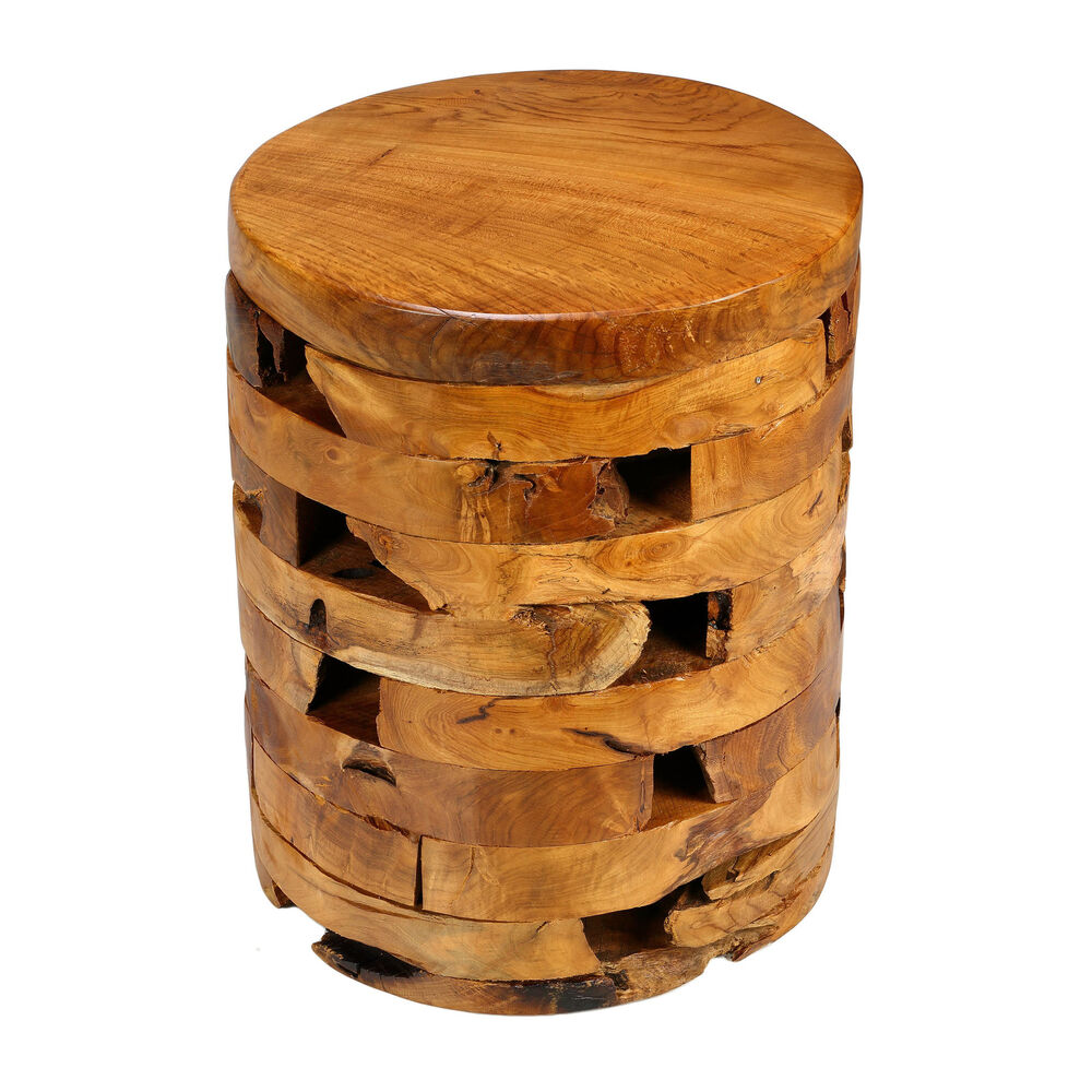 Bare decor stonehenge solid teak wood stump end table ebay for Wood stump end table