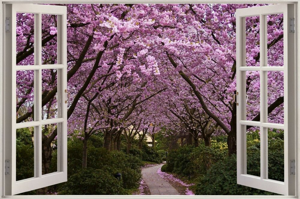 Huge 3D Window View Purple Forest Wall Sticker Mural Film