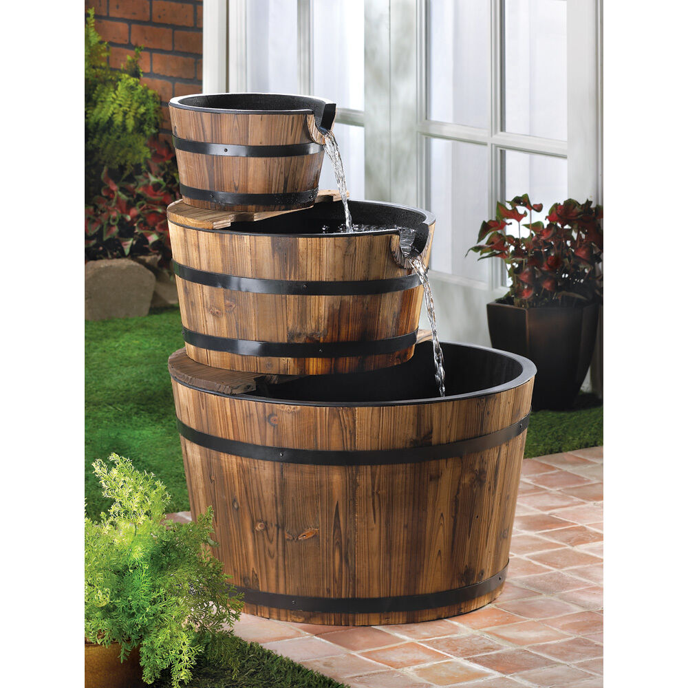 Apple barrel cascading water fountain 3 tier firwood for Outdoor patio fountains