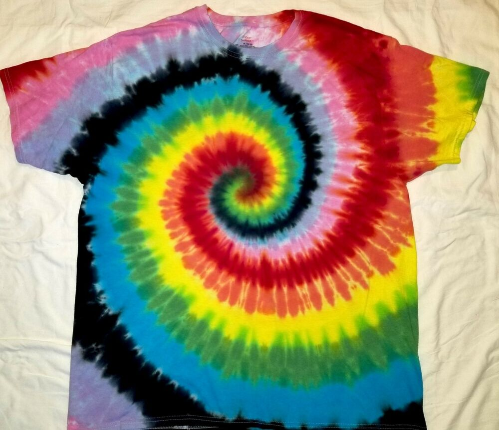 Original custom tie dye hand dyed hippie spiral t shirt for Customized tie dye shirts