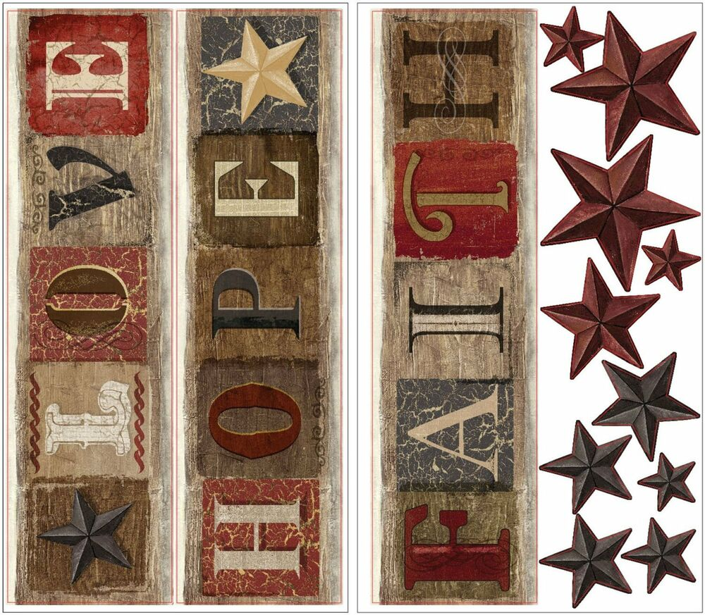 Country Hope Faith Love 13 Wall Decals Stars Farm Rustic