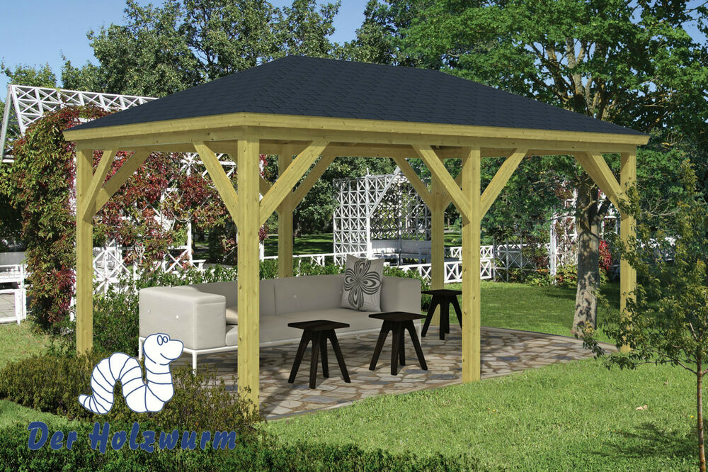 pavillon grande gartenlaube 490x290cm 11 5 x 11 5cm pfosten pavillion holz neu ebay. Black Bedroom Furniture Sets. Home Design Ideas