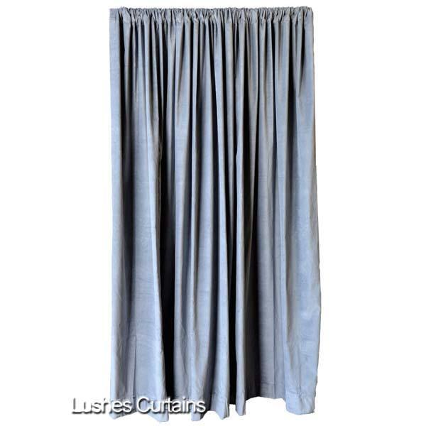 gray velvet curtain panel 120 h long theater stage sound. Black Bedroom Furniture Sets. Home Design Ideas