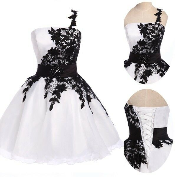 Black white prom short gowns wedding bridesmaid evening for What shoes to wear with a ball gown wedding dress